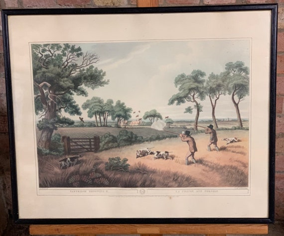 Large Vintage Framed and Glazed Print ' Partridge Shooting'  - La Chasse Aux Perdrix'