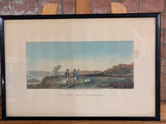 19th Century Hand Coloured Engraving Titled Evening First September