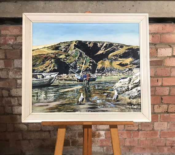 Original Oil Painting By Ruth Pinder Of Fishing Scene In Port Isaac, Cornwall