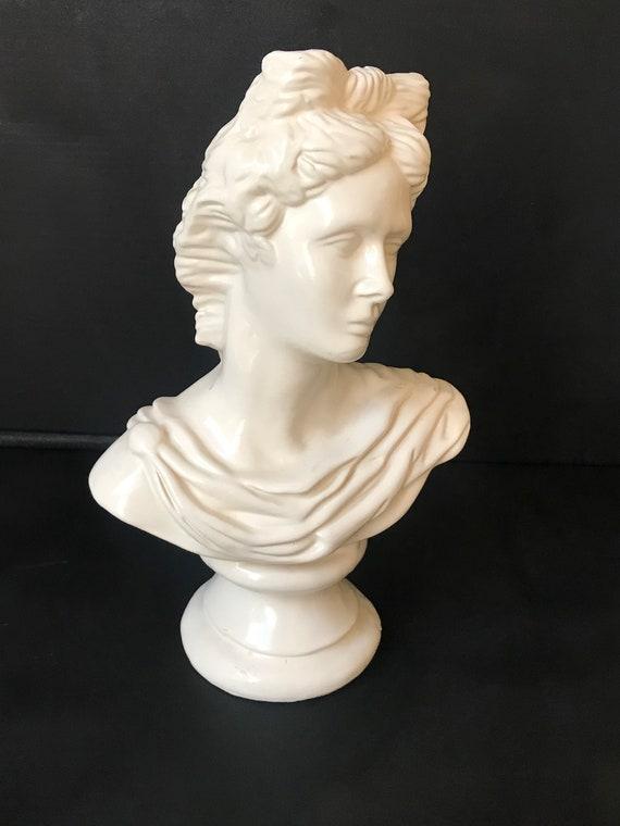 Stunning Vintage Ceramic Female Grecian Bust