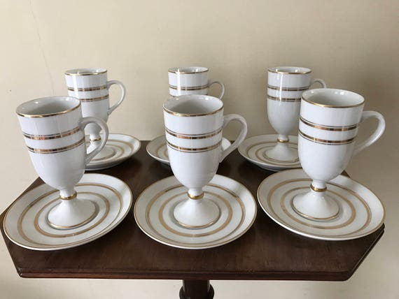 Stunning Set Of Six Ivory Porcelain And Gold Pedestal Coffee Cups And Saucers