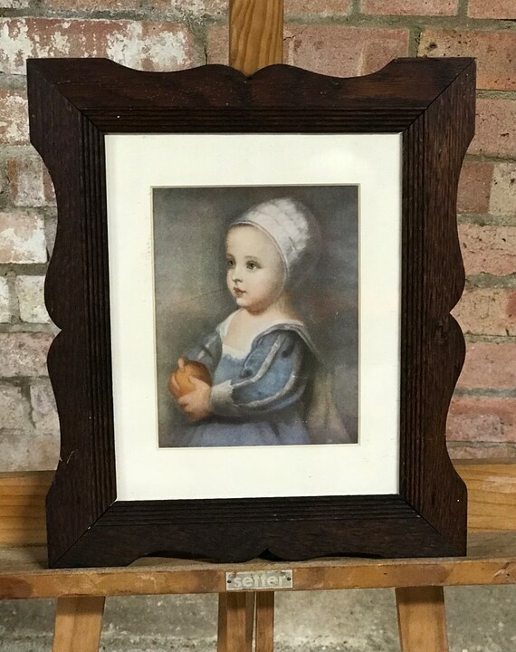 Vintage Hand Coloured Print Of 'The Boy With The Apple' After the Original by Van Dyck, In A Wonderful Arts And Craft Frame