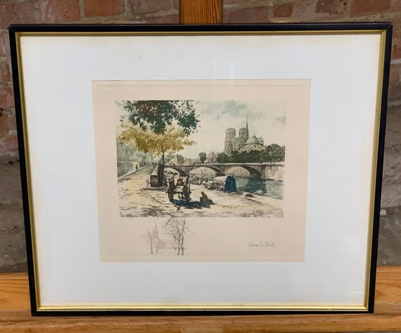 Wonderful Antique Hand Coloured Etching By Henri Le Riche Of Notre Dame France