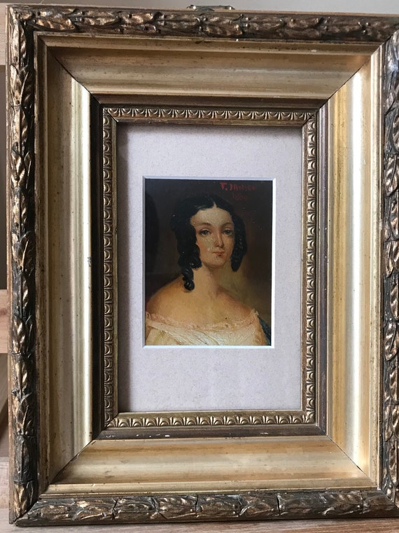 Beautiful Small Portrait Oil Painting Of a Young Woman In A Gilt Frame Dated 1800 By T Jansen
