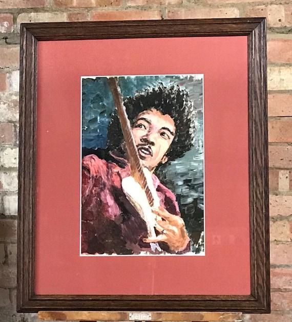 Fabulous Original Oil Painting of Jimi Hendrix circa 1960's Monogrammed Bottom Right