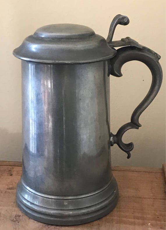 Handsome Antique 19th Century Pewter Tankard with Lid and Glass Bottom