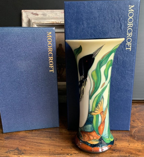 Beautiful Moorcroft Vase decorated with the Torridon Pattern, deisgned by Philip Gibson in 2004