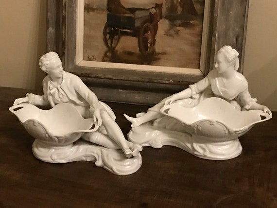 Beautiful Pair Of 19th Century Blanc De Chine Sweetmeat Dishes Of A Lady And A Gentleman