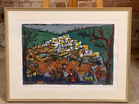 Wonderful framed Marcel Janco Limited Edition Print of Ein Hod, Israel, signed by the artist Lower Right