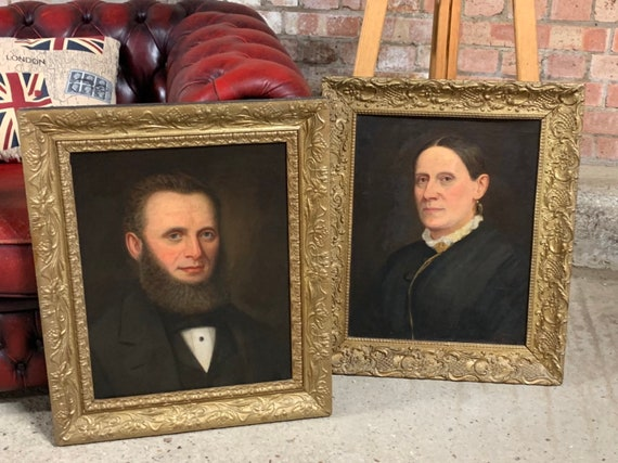 Pair Of Original Antique 19th Century Continental Portrait Oil Paintings
