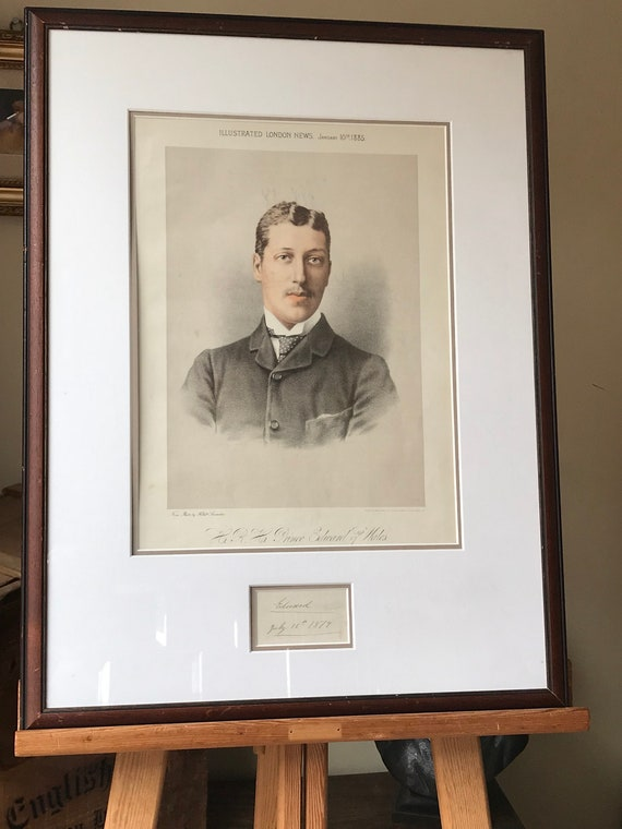 Framed 19th Century Coloured Engraving Of HRH Prince Edward Of Wales 1885 from the Illustrated London News