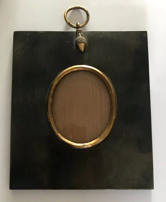 Beautiful Original 18th Century Georgian Horn Miniature Frame With Gilt Acorn and Gilt Oval Picture Surround