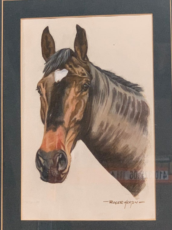 Original Roger Heaton Watercolour Of A Horse Titled 'Larnson' And Dated 1986