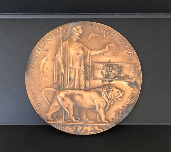 Genuine Original WW1 Bronze Death Plaque/Penny for Charles Victor Noel 1914-1918