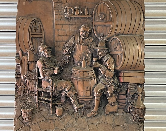 Large Heavy Vintage Tavern Scene Plaque Made In Italy Torino