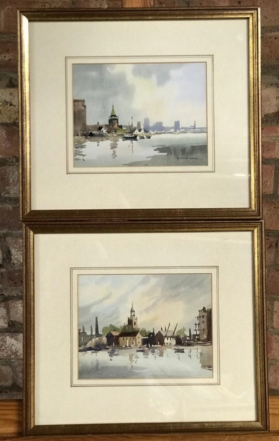 Beautiful Pair Of Watercolours of Areas along the River Thames, London  By The Renowned Artist Sydney Vale