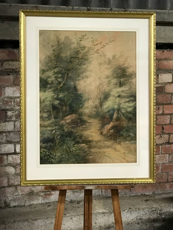 Large Gilt Framed 19thC Watercolour Woodland Path By Samuel C Hawksett (1827-1903)