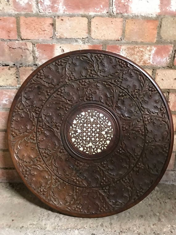 Antique Inlaid And Carved Table Top Possibly Wine Table