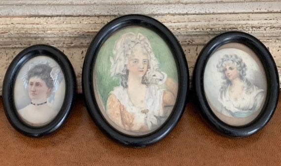 Three Beautiful Original 19th Century Portrait Miniature Watercolours of Ladies