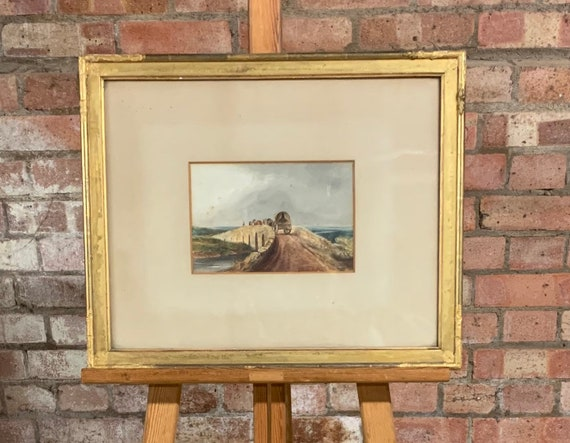 Lovely Original 19th Century David Cox Watercolour of a Man on a Bridge with Wagon and Horses
