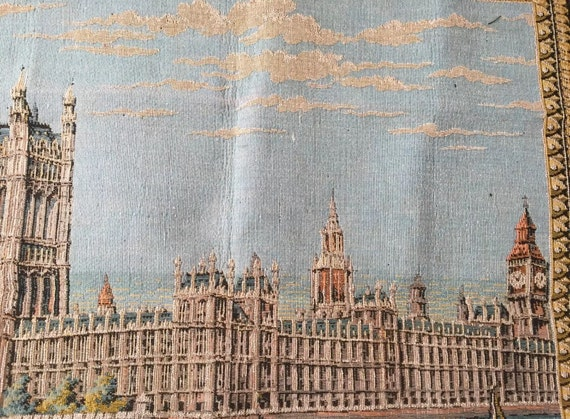 Wonderful Rare Antique Tapestry Of The Houses Of Parliament