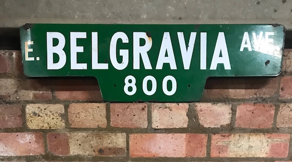 Original 1960's Enamel Double Sided American Street Sign Belgravia Ave California