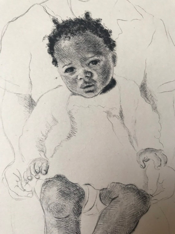 This is a fabulous Original Artists Proof Etching by the African Artist, Margaret Maskew, titled African Baby