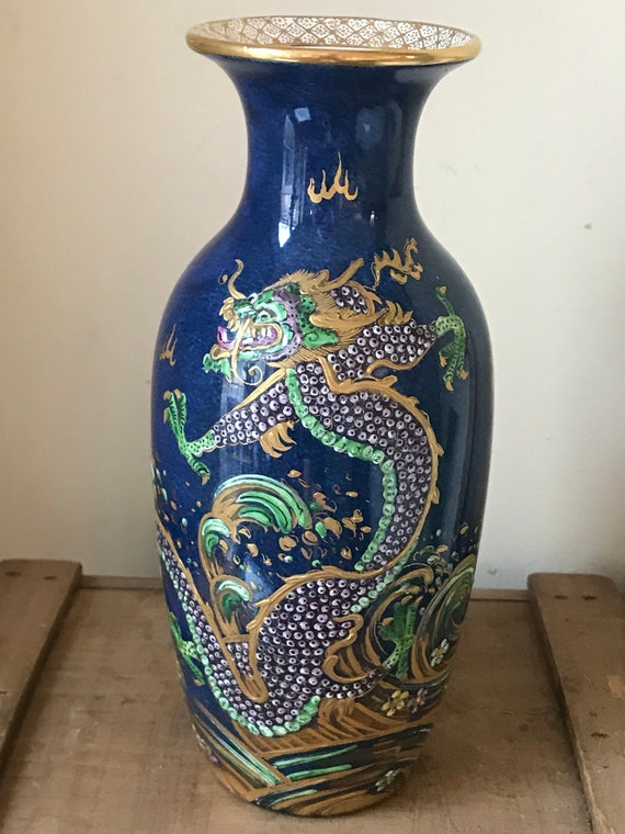 Vintage New Chelsea Staffordshire Porcelain Vase With Hand Painted Chinese Dragon Decoration
