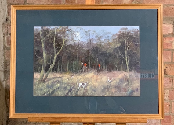 Original Vintage Oil Painting Of Huntsmen Fox Hunting With Hounds By C Crocker, Titled Rough Going