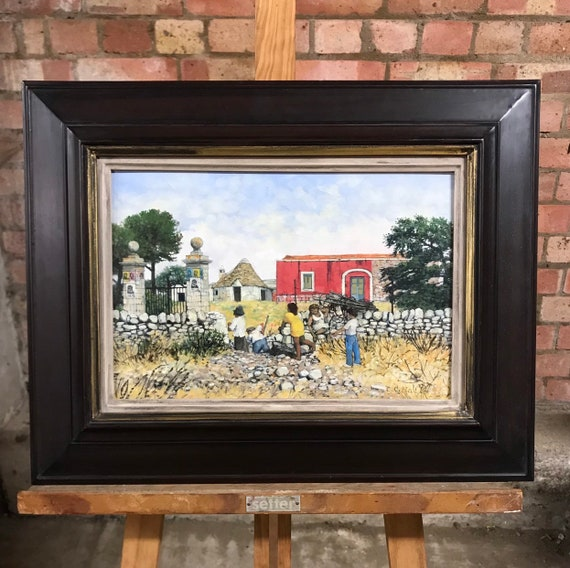 Christopher Compton Hall Oil Painting Of A Village Scene In Giola Di Cole, Italy