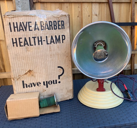 Original 1960's Vintage Retro Barber's Electrical Services Health Lamp - could be rewired to make a retro table light - Now there's an idea!