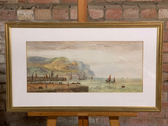 Fabulous Original Watercolour of Lynmouth Circa 1900 by the Artist E Lewis