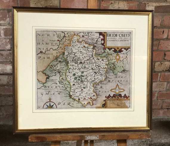 Original 1st Edition Saxton & Kip Map Of Bedfordshire Published In 1607