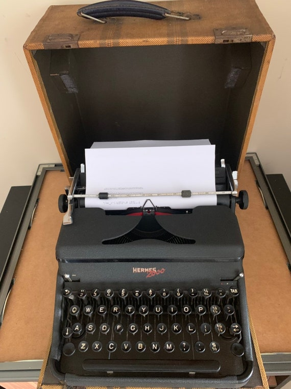 Rare Vintage Hermes 2000 Portable Typewriter With Case - In Good Working Order