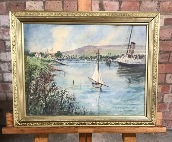 Wonderful Watercolour of Hobart, Tasmania Signed L M Allport