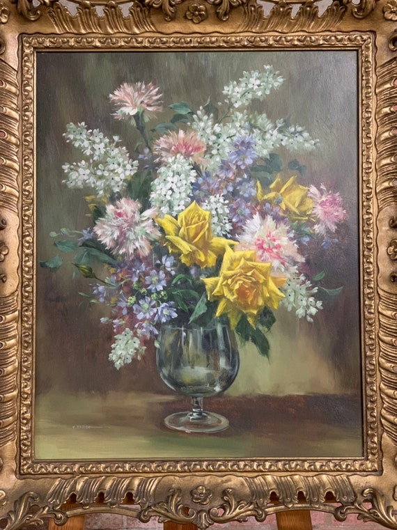 Stunning Still Life Oil Painting of a Floral Display By The Amazing Artist Elizabeth Bridge