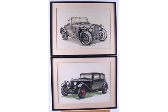 Pair of Beautiful of Watercolours of Vintage Cars Signed 'Roy' lower right