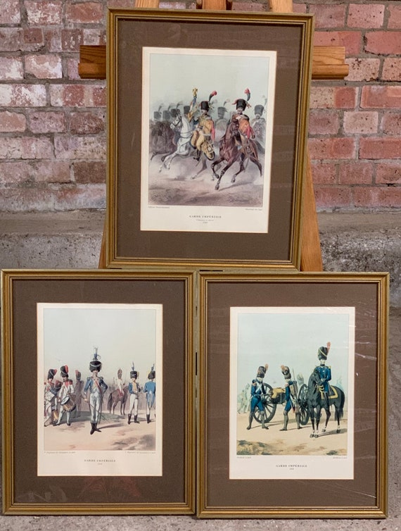 Three Antique 19th Century Framed and Glazed Coloured Prints Of French Army Officers