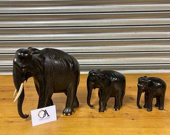 Antique Victorian Ebony Wood Hand Carved Elephant Figures.