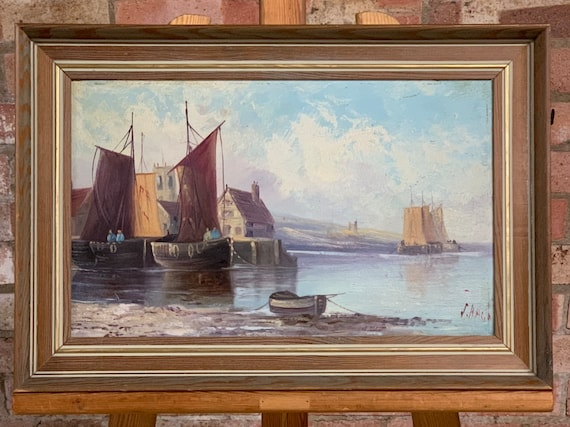 Lovely Seascape Oil Painting Of Boats In The Harbour By J Bage
