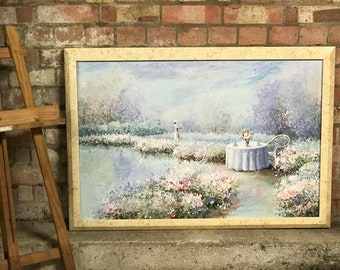 Large Beautiful Painting of a 19th Century Dressed Lady in a Wonderful Garden full of Flowers Signed Van Dali
