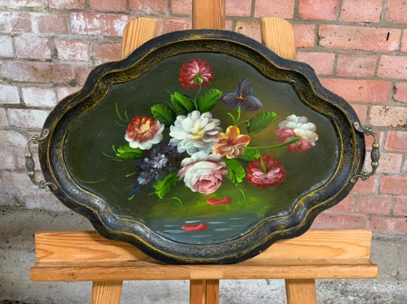Beautiful Hand Painted Tray Decorated with Flowers