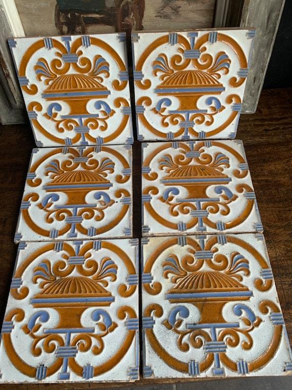 Six Maw & Co 19th Century Art Nouveau Tiles Made By Florets Maw, Salopia