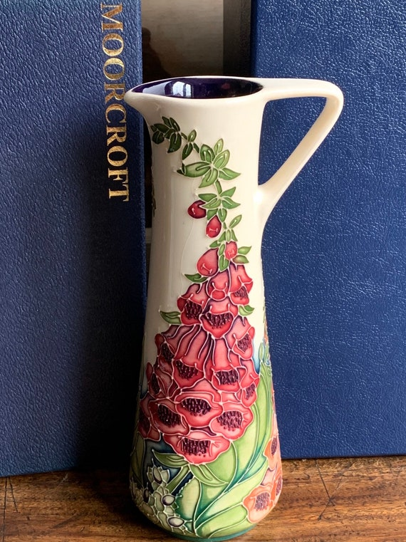 Beautiful Moorcroft Jug Vase Designed by Rachel Bishop Decorated in the Amberswood Pattern in 2002