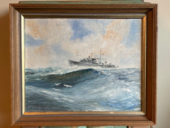 Original Oil Painting on Board Of The HNLMS Jacob Van Heemskerck - Royal Netherlands Navy - Dated Christmas 1941