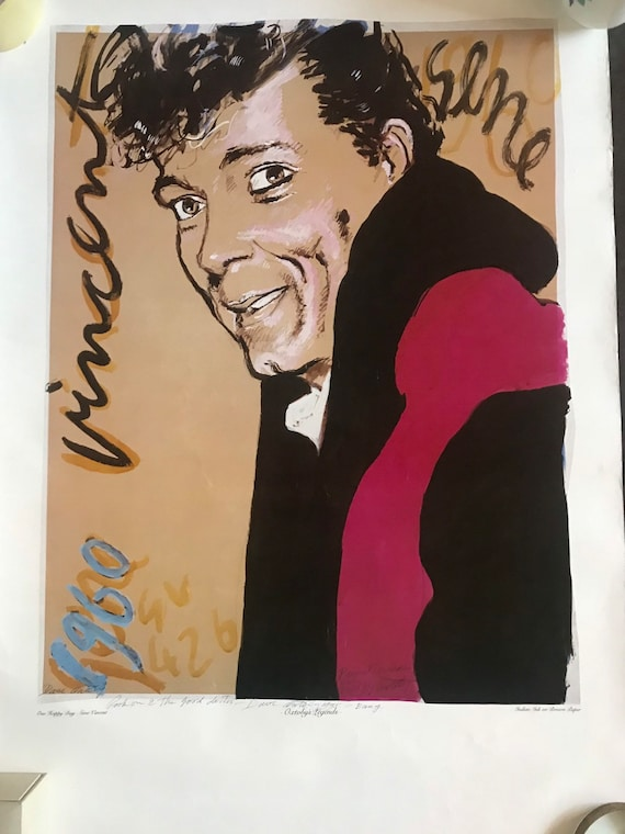 Fabulous Rare David Oxtoby Offset Lithograph of Gene Vincent dedicated to Dr Rock, Chas White titled 'One Happy Day', signed by David Oxtoby