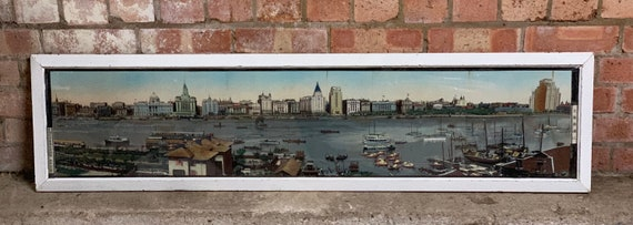 Large Vintage Mid Century Framed Well Executed Tapestry Of Hong Kong