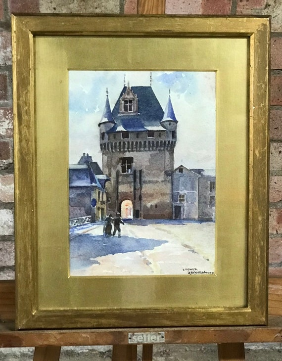 Beautiful 19th Century Watercolour Of Loches In France By J B Wilkinson