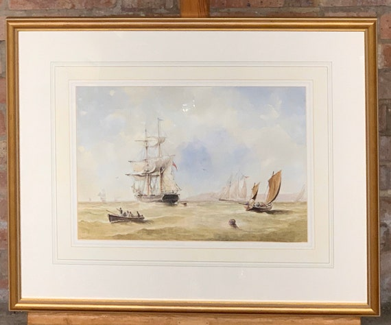 Superb 19th Century Watercolour Seascape By W H Chambers