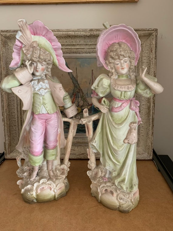 Antique Large Pair Of Bisque Figurines Circa Late 19th/early 20th Century